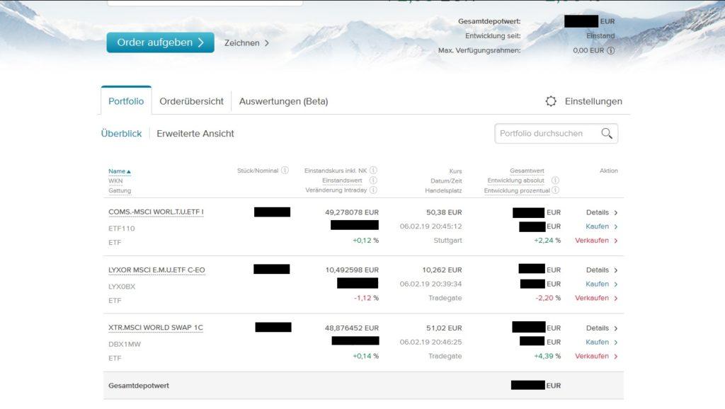 Consorsbank Depotübersicht