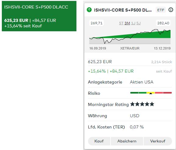 Comdirect Depotansicht S&P 500 ETF