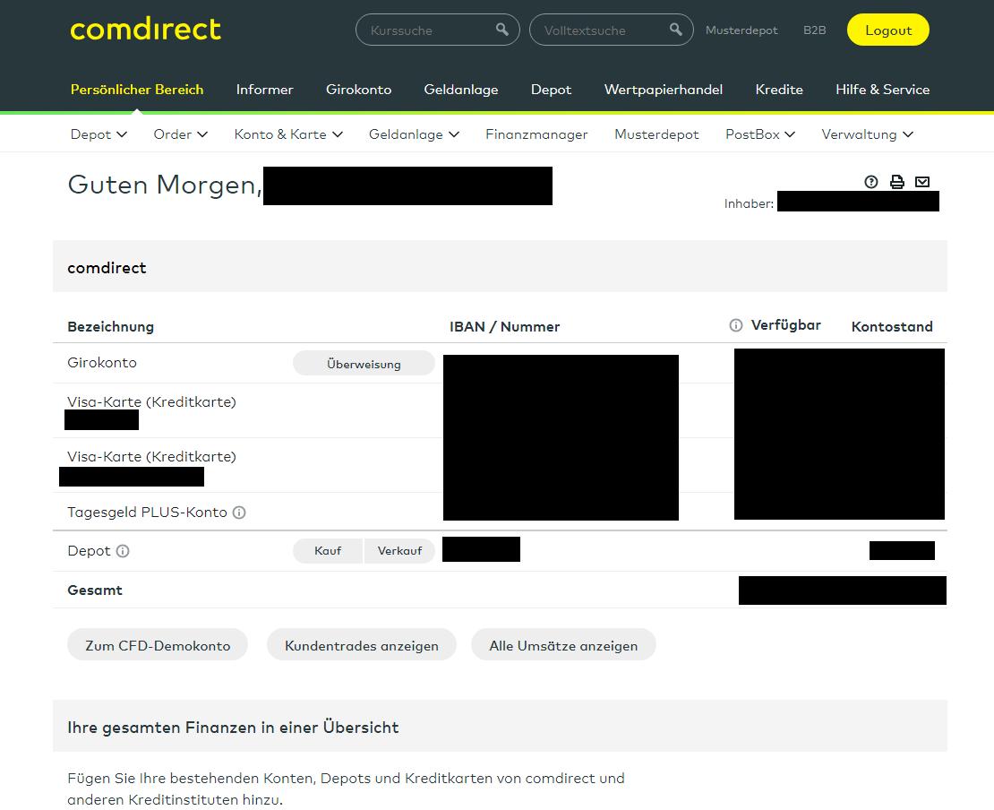 comdirect Konten Übersicht Depot verwalten