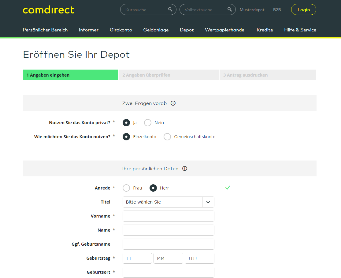 comdirect Depoteröffnung Sparplan Vergleich