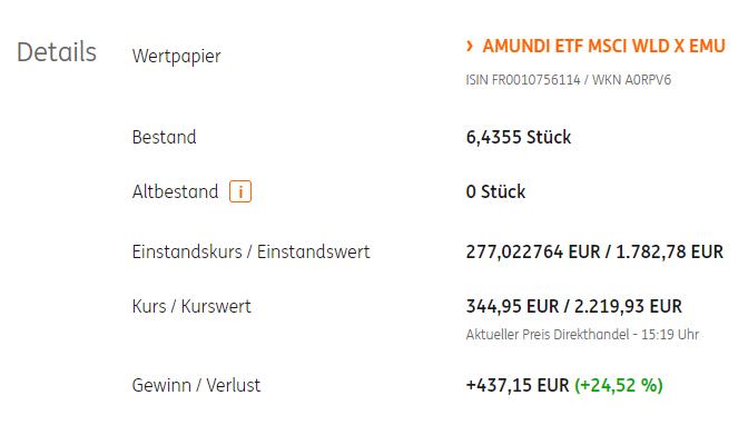 ETF Sparplan ING Depot Wert
