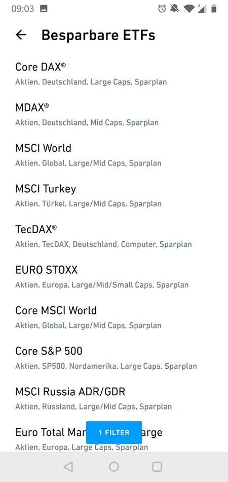 In App Übersicht über ETF bei Trade Republic