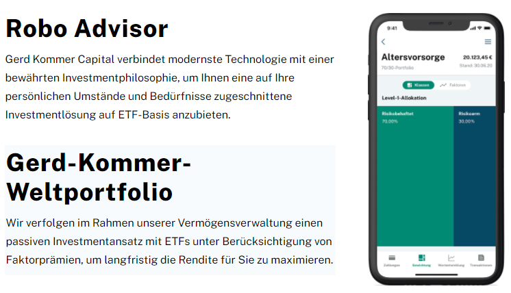 Robo Advisor Webseite Screenshot