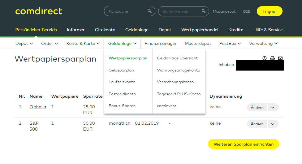 comdirect Wertpapiersparplan Sparplan Aktienhandel
