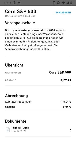 Vorabpauschale Trade Republic Screenshot